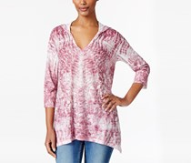 Style & Co. Petite Sublimated-Print Hoodie, Raspberry