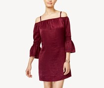 Women Juniors Cold-Shoulder Bell-Sleeve Dress, Bordeaux