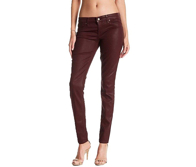 Mid Rise Coated Skinny Jeans, Burgundy