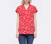 Pleione Women's Floral Print Short Sleeve, Red
