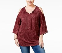 Style & Co. Women's Chiffon Printed Peasant Top, Midnight Paisley