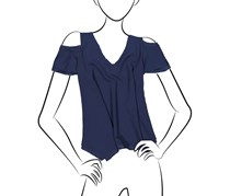 Necessary Objects Women's Cold Shoulder Top, Navy