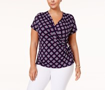 Plus Size Printed Faux-Wrap Top, Interpid Blue