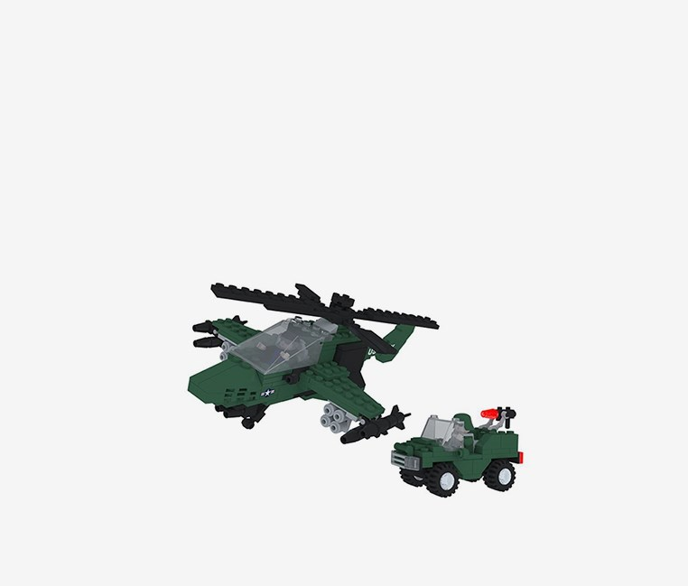 299-Pieces Military Attack Copter Building Toy, Green/Black/Grey
