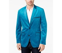 Velvet Two-Button Blazer, True Teal