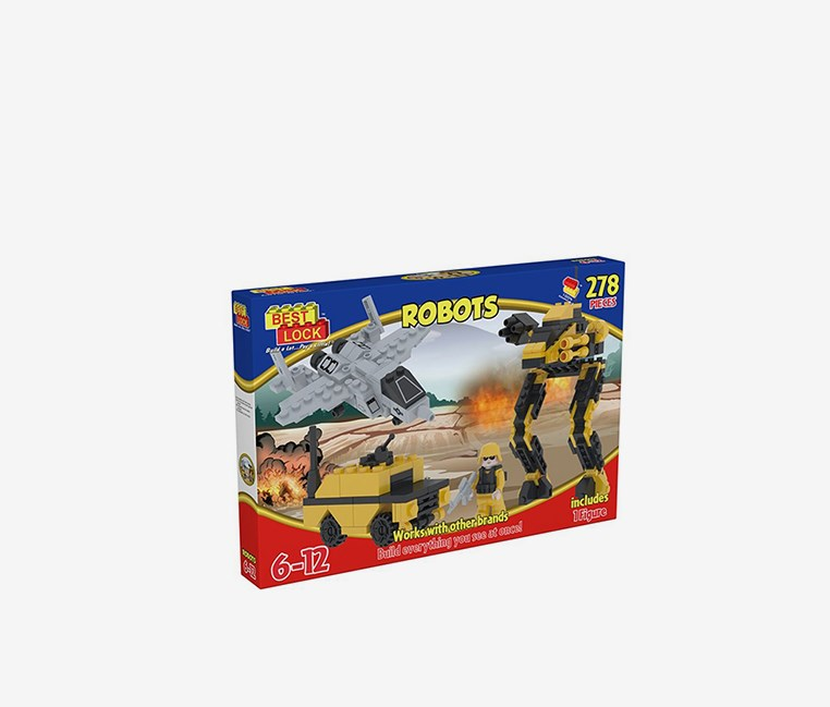 Best Lock 278-Piece Robot Assault, Yellow/Black