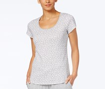 Charter Club Grey Short-Sleeve Floral Printed Cotton Knit Pajama T-Shirt, Dove Gray