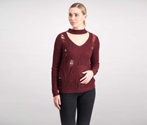 Crave Fame Women's Ripped Choker Sweater, Red Maroon