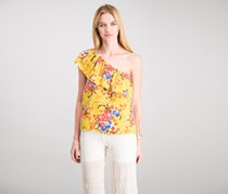 Lily White Women's Floral Top, Dark Yellow