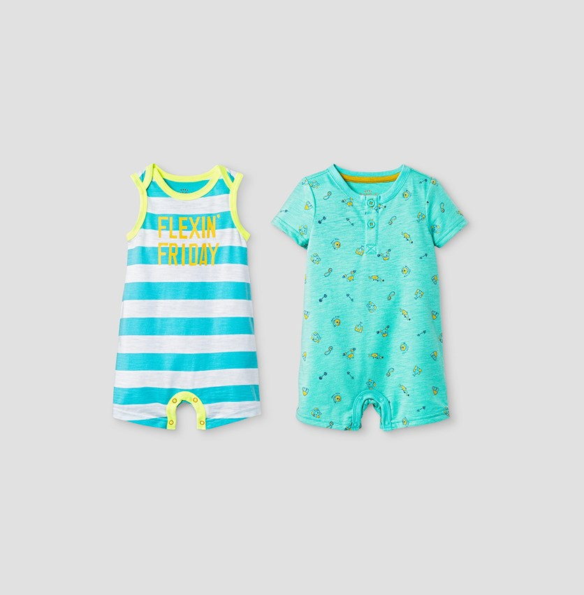 Baby Boys' Henley and Tank Bodysuit, Sea Green