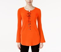 Marled Bell-Sleeve Lace-Up Top, Orange