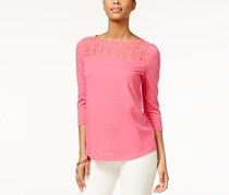 American Living Lace Inset Top, Pink