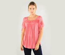 Lucky Brand Women's Embroidered Top, Desert Rose