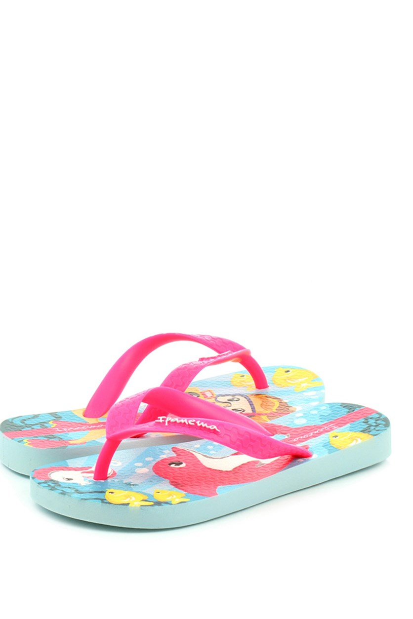 Kids Girl Temas Slippers, Blue/Pink