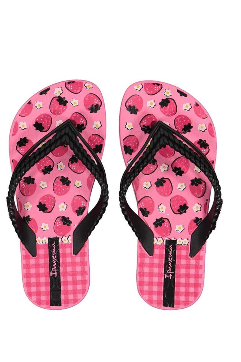 Kids Girl  Love Print Slippers, Pink/Black