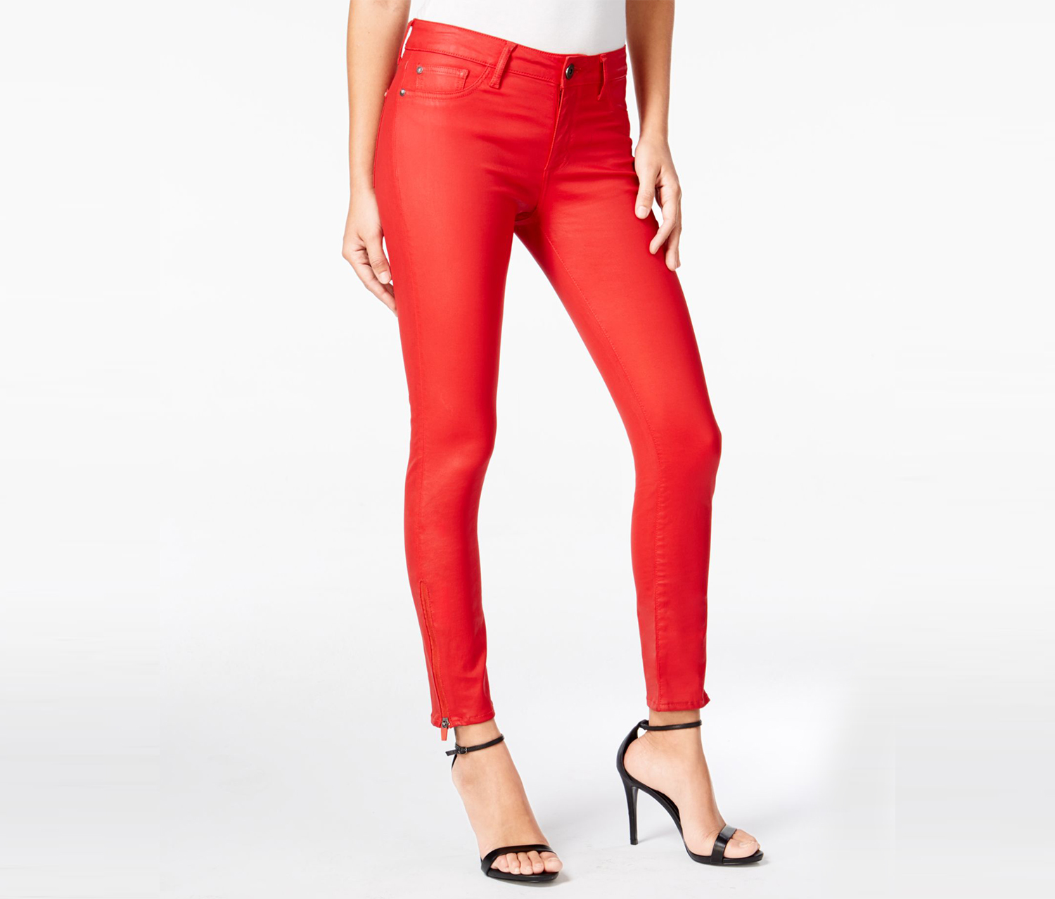 Dl 1961 Margaux Instasculpt Coated Fuego Wash Skinny Jeans, Red