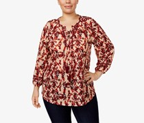 Style & Co Plus Size Printed Lace-Up Peasant Top, Brocade Combo