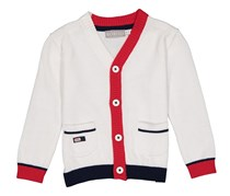 Boboli Toddler's Knit Cardigan, White/Red