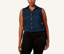 Charter Club Plus Size Collared Shirt, Intrepid Blue
