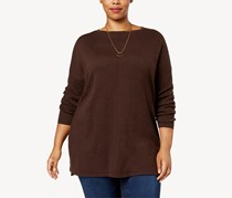 Style Co Plus Size Seamed Boat-Neck Sweater, Rich Truffle