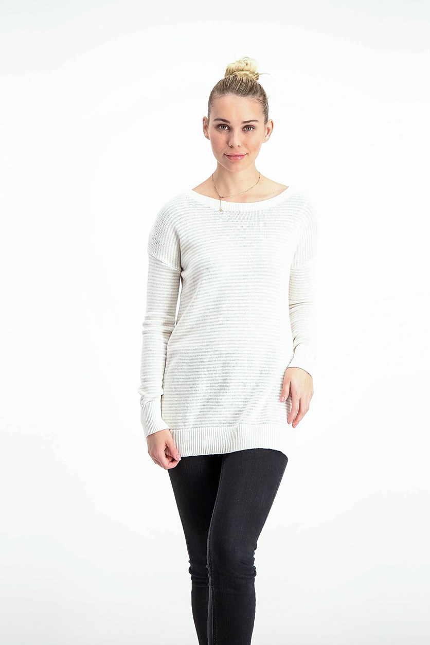 Women's Long Sleeve Round Neck Sweaters, Ivory/Silver