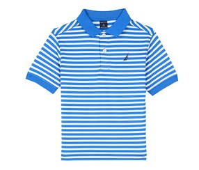 Nautica Boys' Short Sleeve Striped Polo Shirt, Dark Turquoise