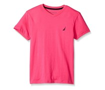 Nautica Boys' Short Sleeve Solid V-Neck Tee, Hot Pink