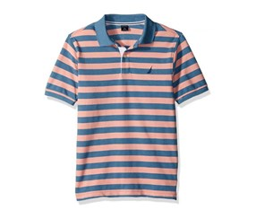 Nautica Big Boys Davenport Stripe Polo Shirt, Peach/Teal