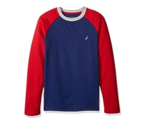 Nautica Big Boys Long Sleeve Raglan Shirt, Red/Navy