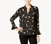 Charter Club Bird-Print Blouse, Deep Black Combo