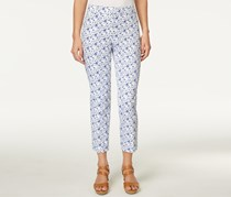 Charter Club Printed Cropped Straight-Leg Pants, Bright White Combo