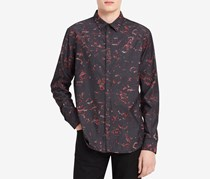 Calvin Klein Mens Abstract Button Up Shirt, Black