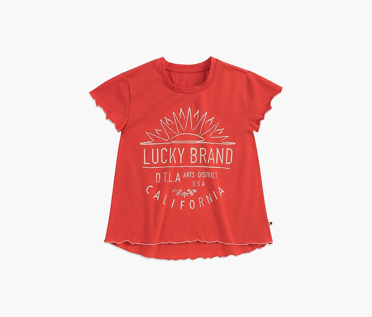 Little Girls Violet Tee, Cayenne