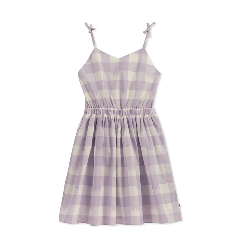 Kids Girl Plaid Ivy Dress, Pastel Lilac