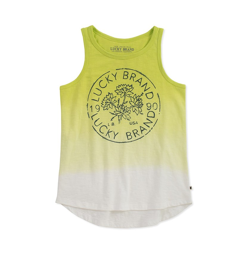 Kids Girl Flower Logo Gloria Tank, Sunny Lime