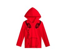 Epic Threads Headphones Hooded Shirt, Gumball Red