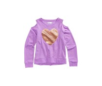 Epic Threads Cold Shoulder Sequin-Heart Sweatshirt, Sugar Violet