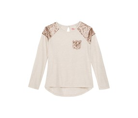 Sequin Long-Sleeve T-Shirt, Oatmeal Heather