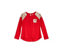 Sequin Long-Sleeve T-Shirt, Tango Red