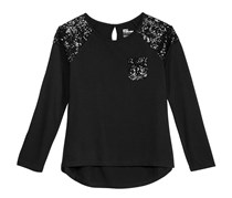 Sequin-Detail Long-Sleeve T-Shirt, Deep Black