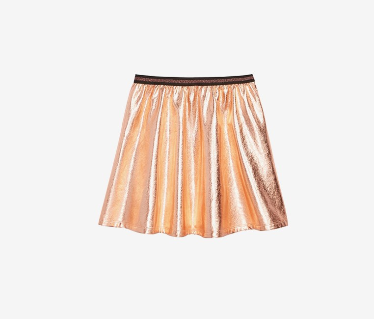 Foil-Print Skater Skirt, Copper