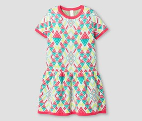 Cat & Jack Girl's Geometric Neon Sweater Dress, Aqua/Pink/Lime Green/White