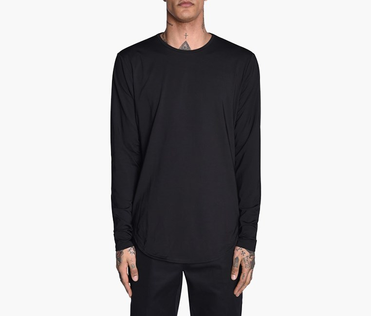 Mens Stampd Long Sleeve, Black