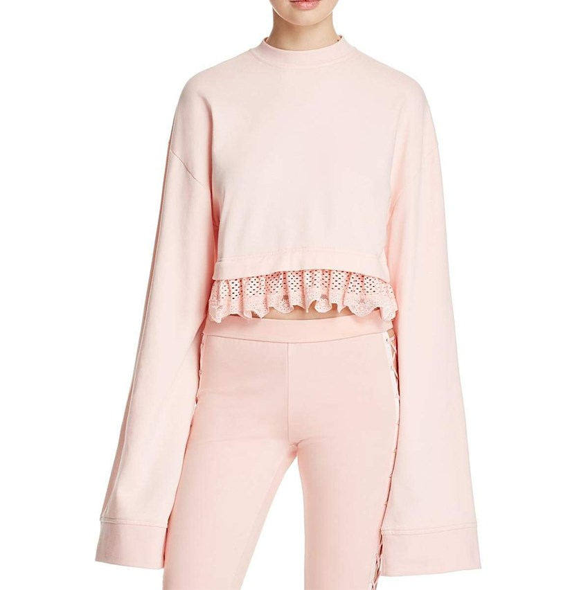 Women's Fenty Cropped Long Sleeve, Crystal Rose