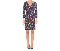 Anne Klein Women's Heather Cliff Printed Wrap Dress, Black/Canoe