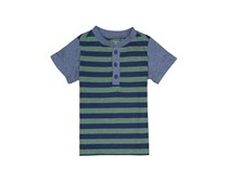First Impressions Striped Henley T-Shirt, Green/Blue Heather