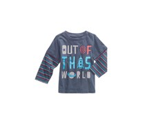 First Impressions Baby Boys Layered-Look Graphic-Print Cotton T-Shirt, Navy Nautical