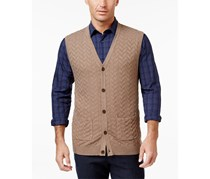 Tasso Elba Men's Big and Tall Chevron Sweater Vest, Cocoa Bean Heather