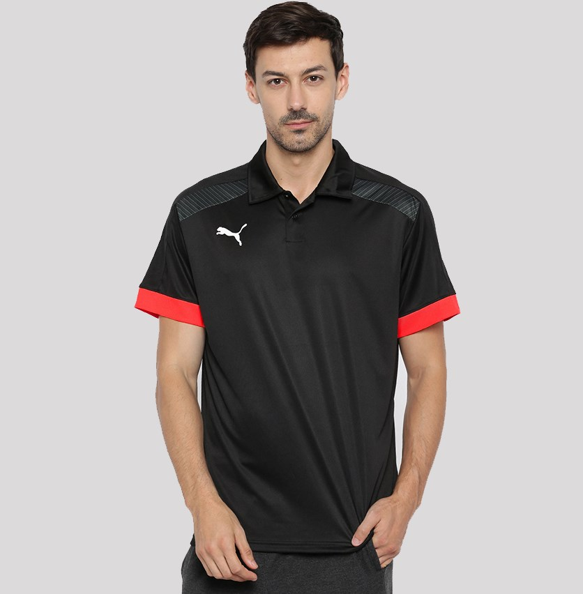 Men Black Solid Polo Collar T-Shirt, Black Combo