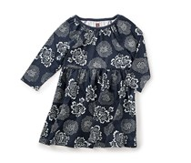 Tea Collaction Baby Girl's Tsuki Babydoll Dress, Navy/Grey